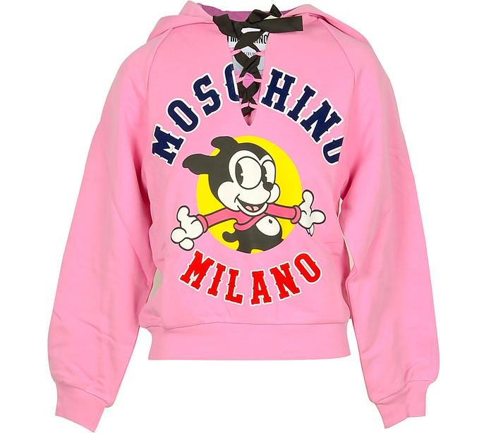 Pink Cotton Signature Women's Ribbon Hoodie - Moschino