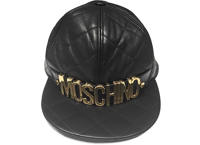 Black Nappa Leather Baseball Hat - Moschino