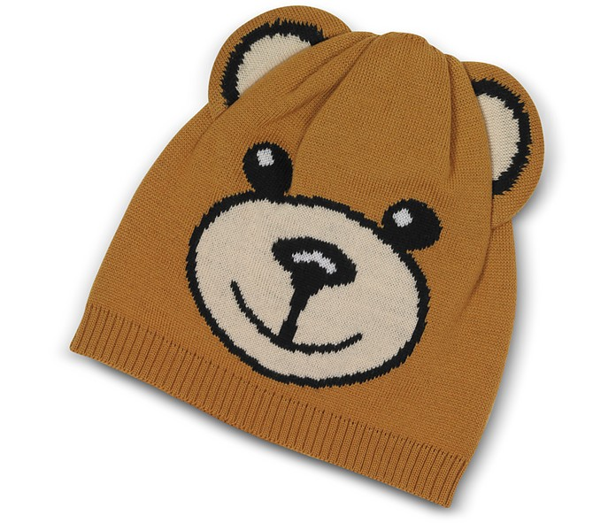 Teddy Bear Brown Wool Beanie - Moschino