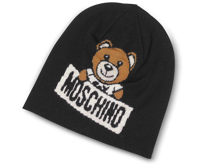 Teddy Bear Black Wool Beanie - Moschino
