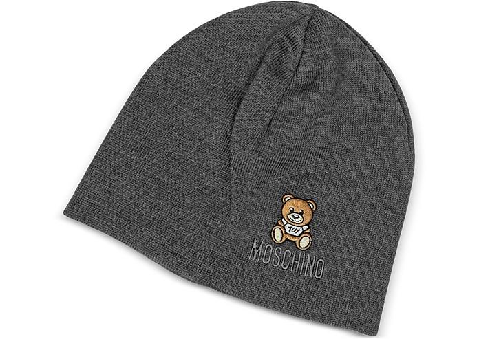 Moschino Dark Gray Solid Wool Teddy Bear Hat at FORZIERI UK bad064029f4