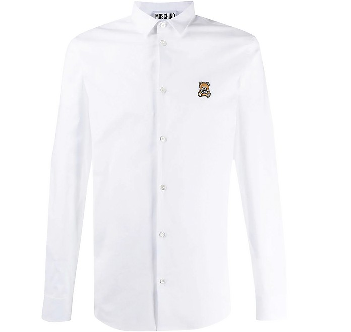 Teddy Bear Embroidered Cotton Men's Slim Fit Dress Shirt - Moschino