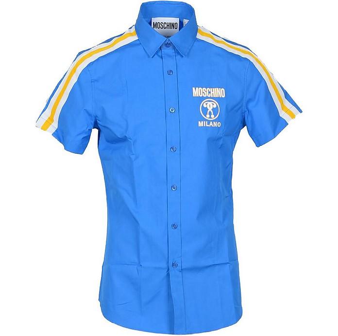 Stripe and Signature Bright Blue Cotton Short Sleeve Men's Shirt - Moschino