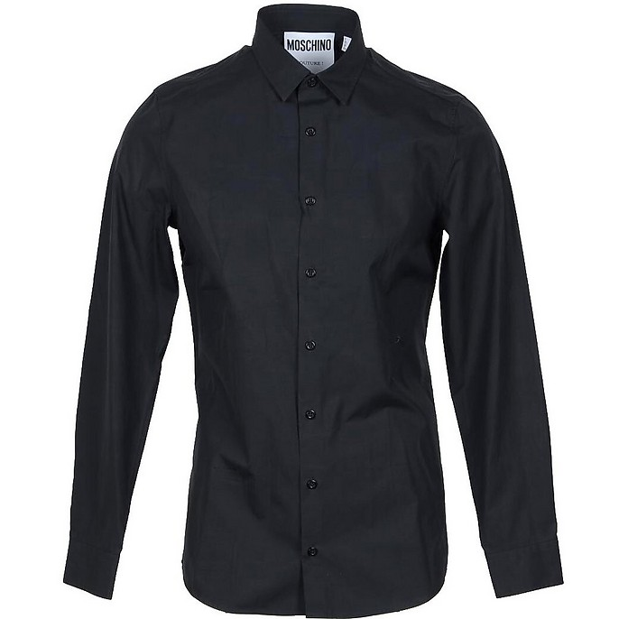 Safety Pin Embroidered Black  Cotton Men's Dress Shirt - Moschino
