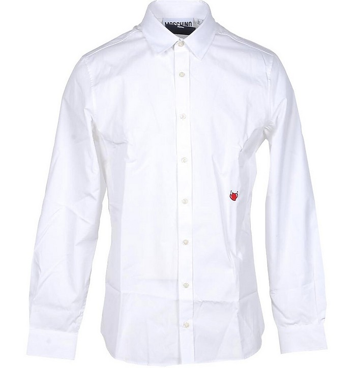 Red Heart Embroidered White Cotton Men's Dress Shirt - Moschino