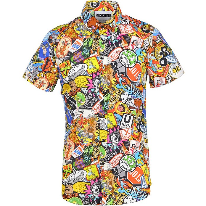 Allover Printed Cotton Short Sleeve Men's Shirt - Moschino