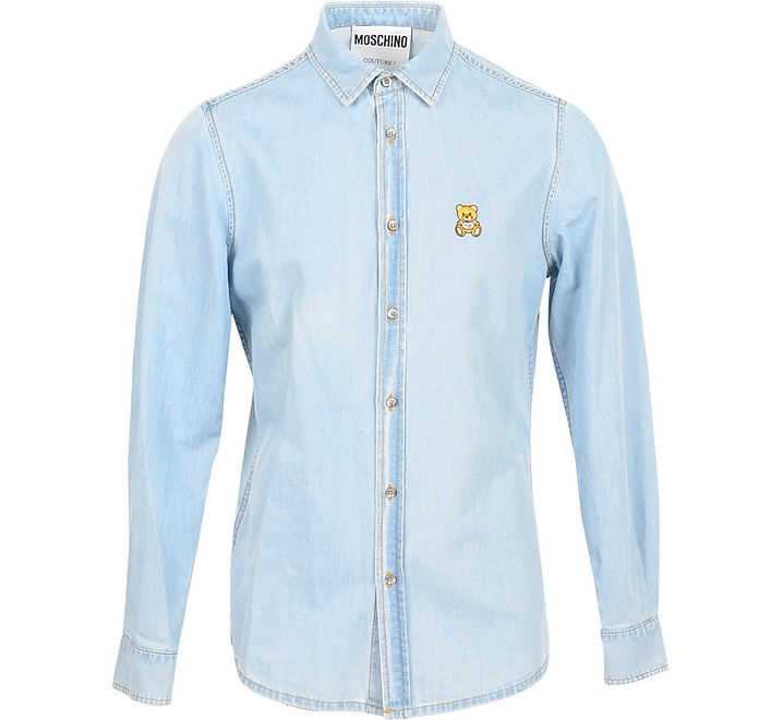 Light Blue Denim Men's Shirt w/Teddy Bear - Moschino