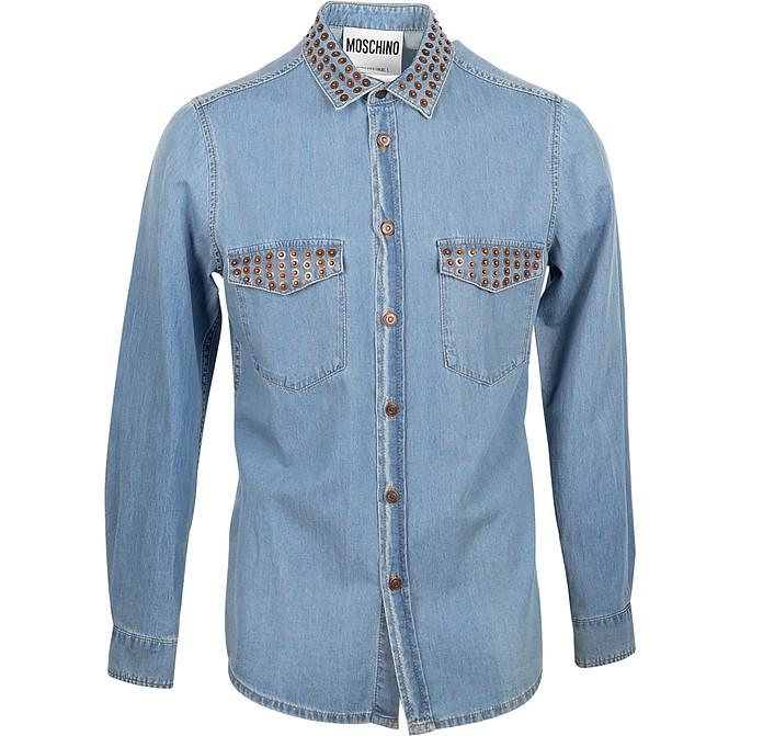 Blue Denim Men's Shirt w/Studs - Moschino