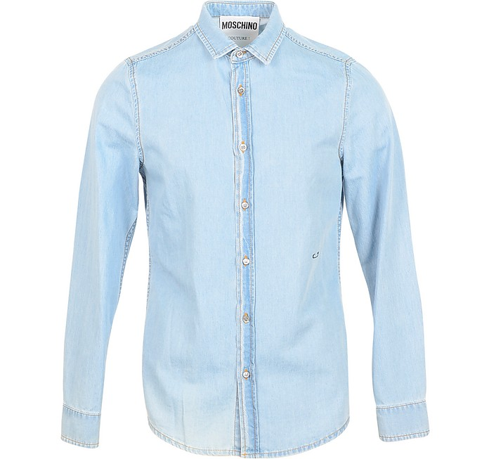 Blue Denim Men's Shirt w/Signature Embroidery - Moschino