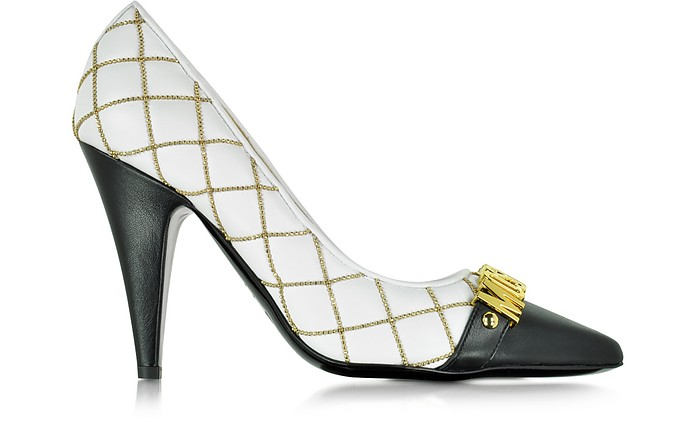 Quilted Nappa Pump w/Golden Logo and Beads - Moschino