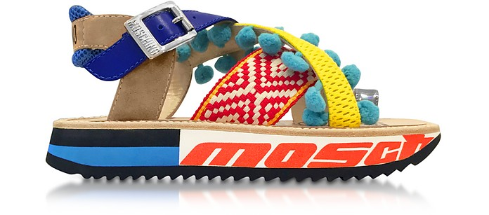 1bc12ea60278 Techno Multicolor Fabric   Leather Platform Sandal w Light Blue Pompom -  Moschino