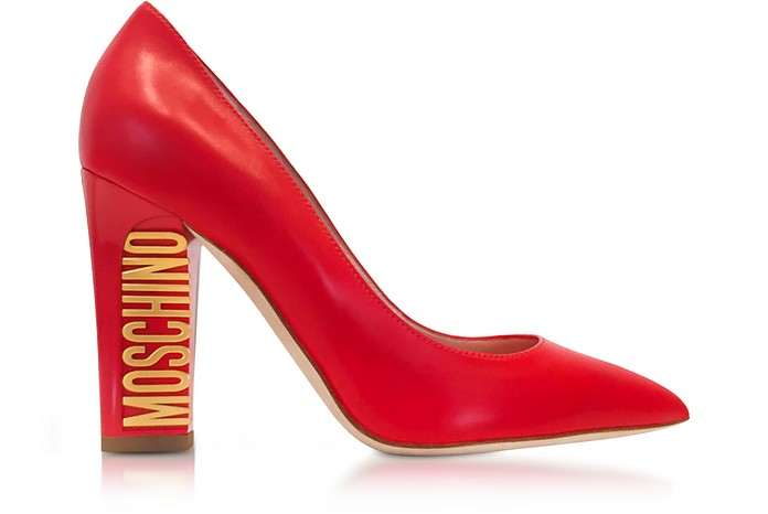 Gold Tone Logo Heel Red Leather Pumps - Moschino