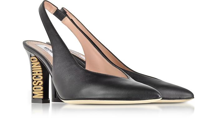 Moschino Designer Shoes, Tone Logo Heel Leather Slingback Pumps