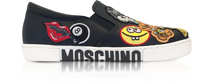 Black Leather Slip On Sneakers w/Patches - Moschino