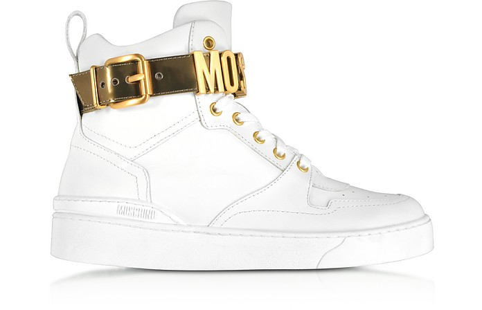 Optic White Leather High Top Sneakers w/Gold Tone Signature Logo  - Moschino