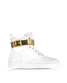 Optic White Leather High Top Sneakers w/Gold Tone Signature Logo  - Moschino / モスキーノ