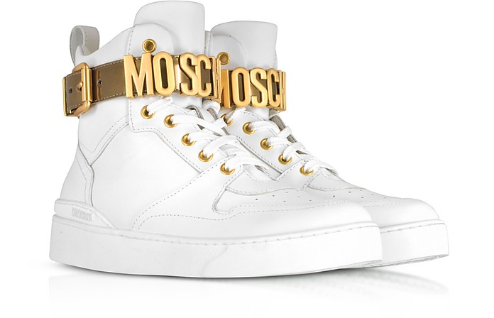 Optic White Leather High Top Sneakers wGold Tone Signature Logo