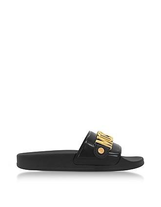 Black Pool Slider Sandals w/Golden Metal Signature Logo - Moschino