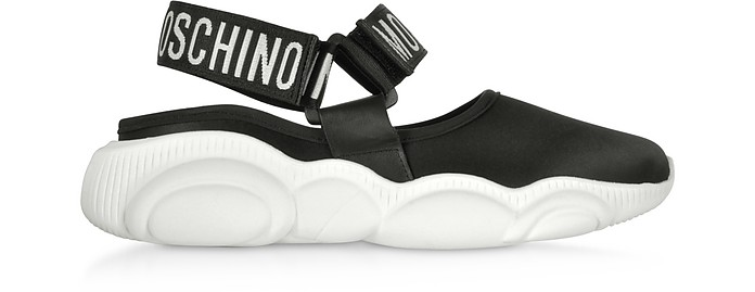 Black Stretch Satin Teddy Run Sandals - Moschino