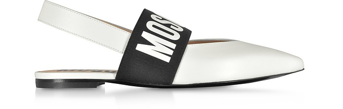 White Leather Logo Ballet Shoes - Moschino