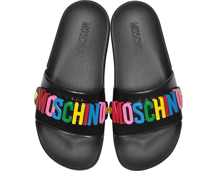 Sandali Pool Slides con Logo Multicolor in Gomma Nera - Moschino