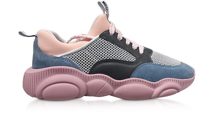 Teddy Run Gray Mesh and Pink Leather Women's Sneakers - Moschino