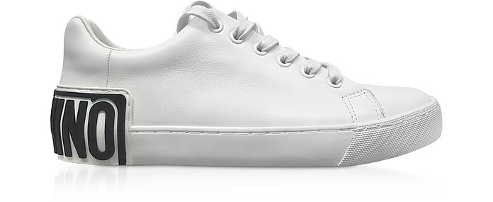 White w/Black Signature Women's Sneakers - Moschino