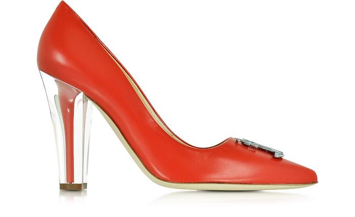 Clear Heel Pumps aus rotem Leder - Moschino