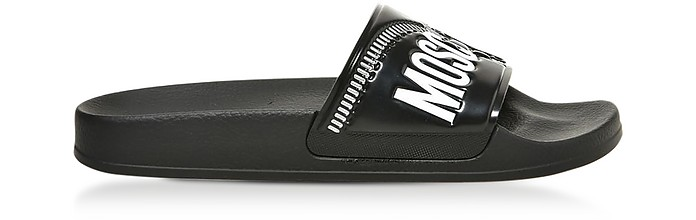 Black Zip Printed Pvc Pool Sandals - Moschino