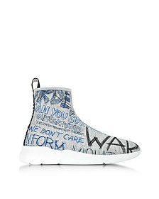 Gray Graffiti Printed Neoprene Sock Sneakers - Moschino