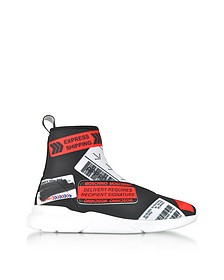 Black Graffiti Printed Neoprene Sock Sneakers - Moschino