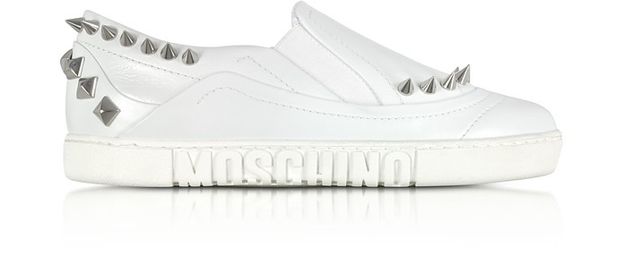 White Leather Slip On Sneakers w/Spikes - Moschino