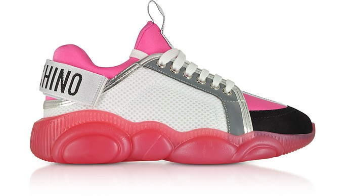 White Mesh and Pink Neoprene Teddy Bear Sneakers - Moschino