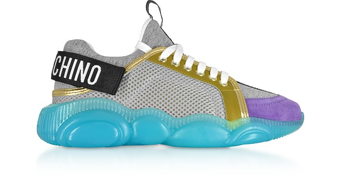 Sneakers Basses en Tissu Mesh et Néoprène - Moschino