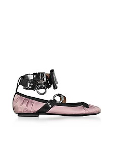 Pink Satin Ballerina w/Patent Leather Ankle Wrap - Moschino