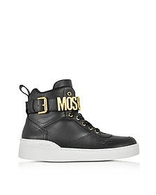 Black Leather High Top Sneakers - Moschino