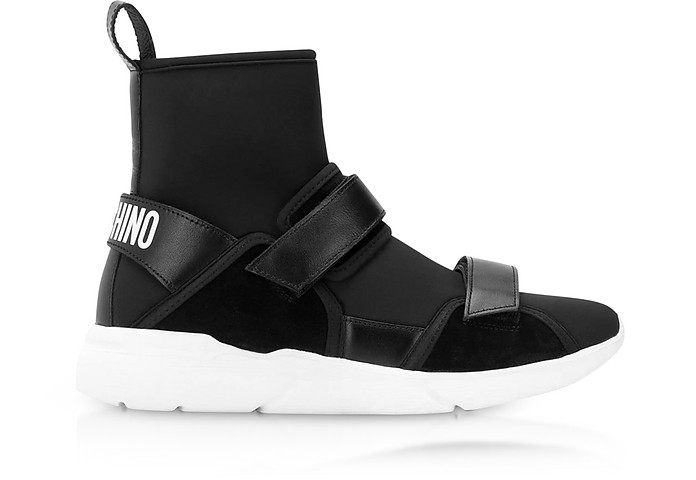 Ettore Black Neoprene High Top Sneakers w/Calf Leather and Suede Upper Straps - Moschino