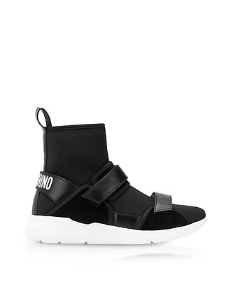 fc04a3500f1992 Ettore Black Neoprene High Top Sneakers w Calf Leather and Suede Upper  Straps - Moschino