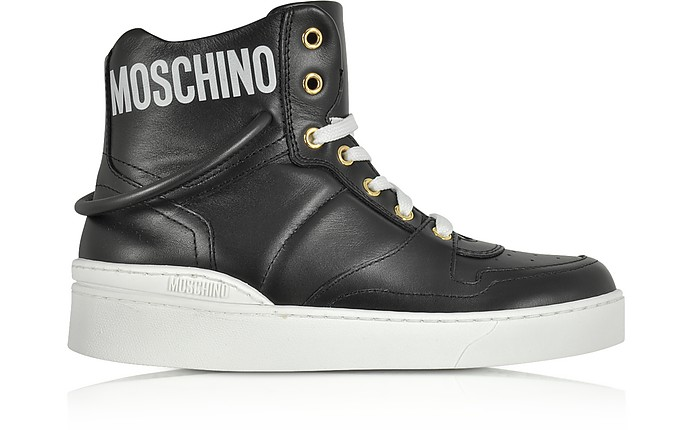 Black Nappa Leather High Top Sneakers - Moschino