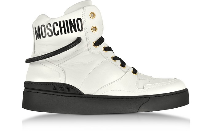 Optic White Nappa Leather High Top Sneakers - Moschino