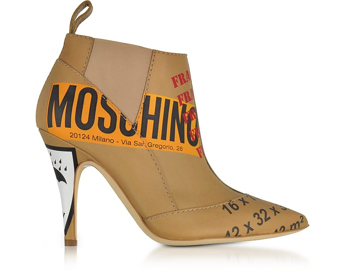 Beige Label Printed Leather Booties - Moschino