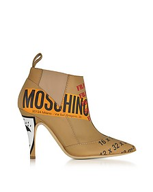 Stivaletto in Pelle Beige Stampa Label - Moschino
