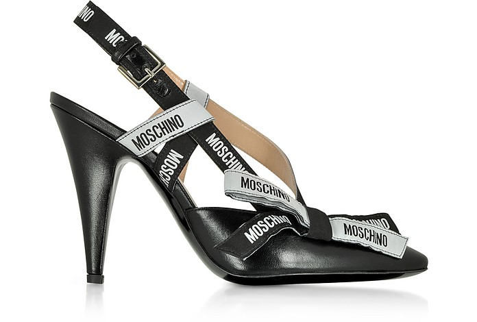 Black Leather Signature Pumps - Moschino