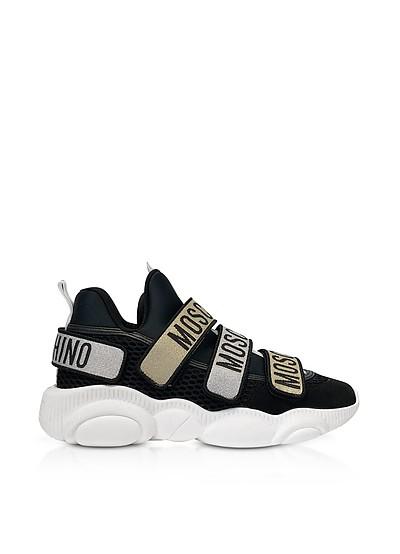 Sneakers Nere con Velcro Logato  - Moschino
