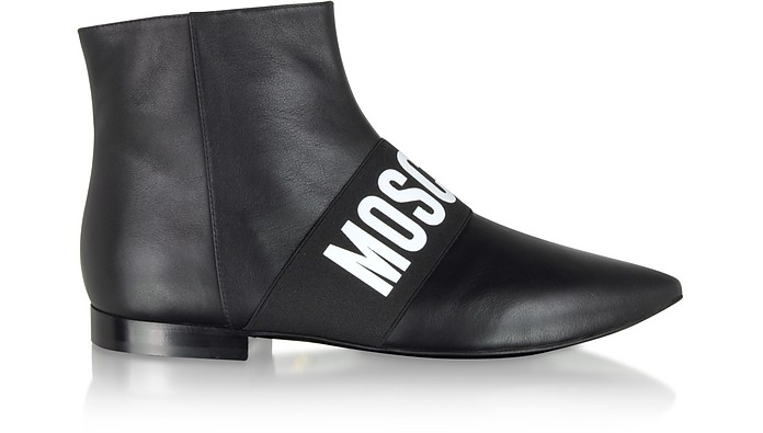 Black Signature Leather Flat Ankle Boots - Moschino
