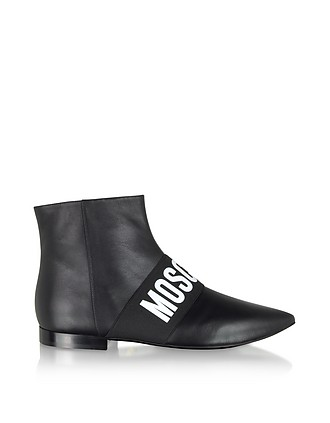 78251836a43a7 Black Signature Leather Flat Ankle Boots - Moschino