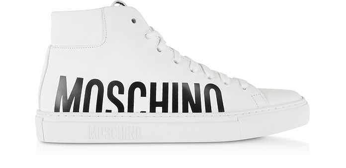 White Leather Mid-Top Sneakers - Moschino