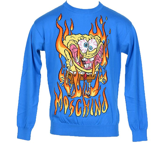 Brilliant Blue  Embroideed Cotton Long Sleeve Men's Sweater - Moschino