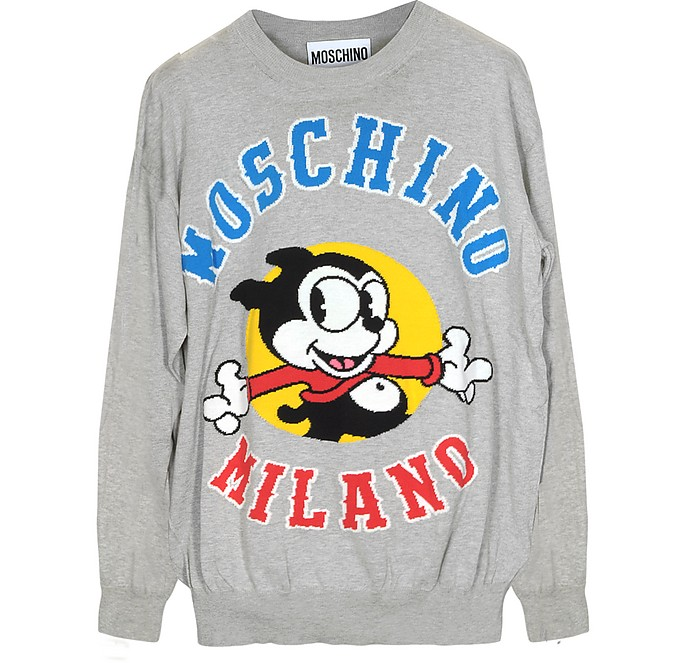 Light Gray Embroideed Cotton Long Sleeve Men's Sweater - Moschino