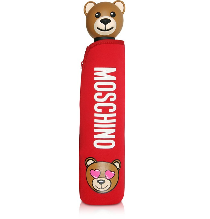 Toy in Love Red Mini Umbrella w/Teddy Handle and Neoprene Pouch - Moschino